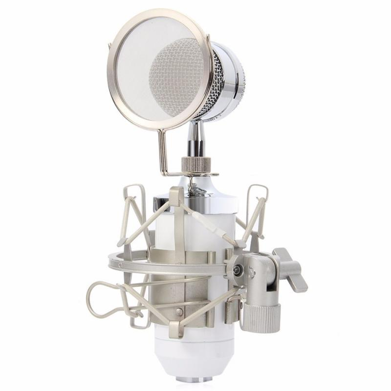 BM8000 Professional Microphone Recording Equipment Noise Reduction Recording Condenser Microphone W/ Pop Filter