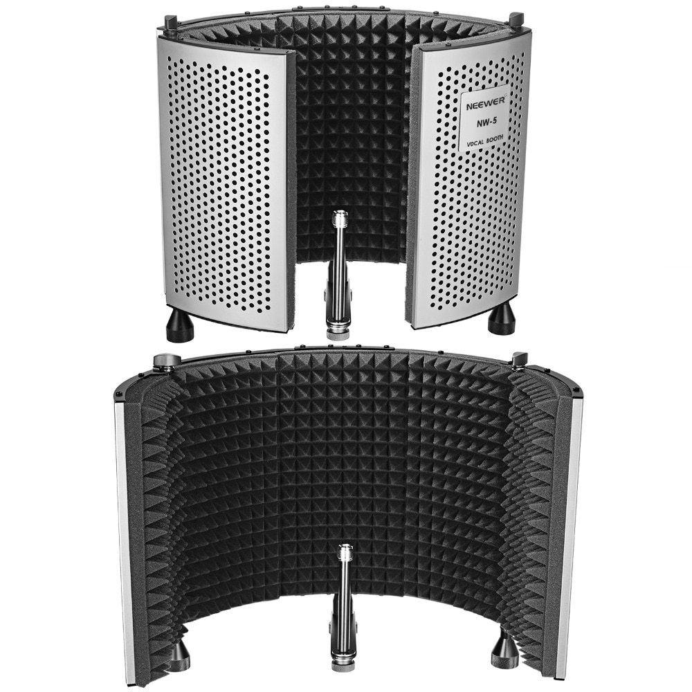 Neewer NW-5 Foldable Adjustable Portable Sound Absorbing Vocal Recording Panel, Aluminum Acoustic Isolation Microphone Shield
