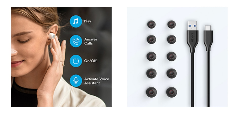 Black / White Wireless Earbuds with 4 Mics